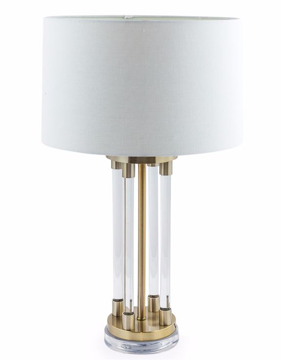 Brass And Glass Art Deco Style Table Lamp With White Shade