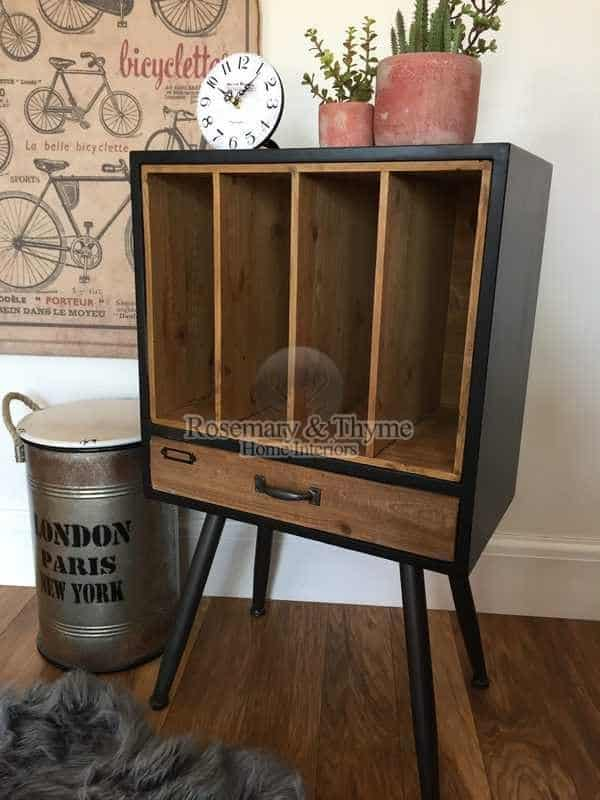 Small Industrial Chest Vintage Drawer Leg Brown Bedside Table Retro Storage Unit