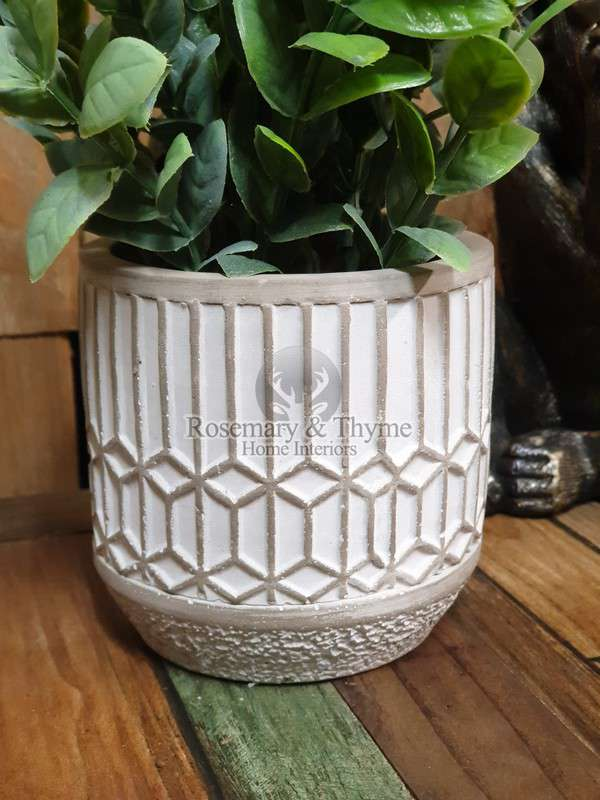 Mosaic Leaves In Cement Pot Grey R T Home Interiors